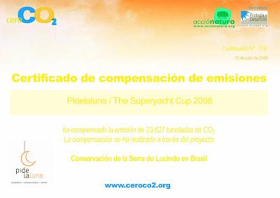 Pidelaluna compensa emisiones de CO2 de la Superyacht Cup